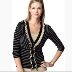 CAbi Cardigan Sweater M Black Tan Stripe Flirt 276